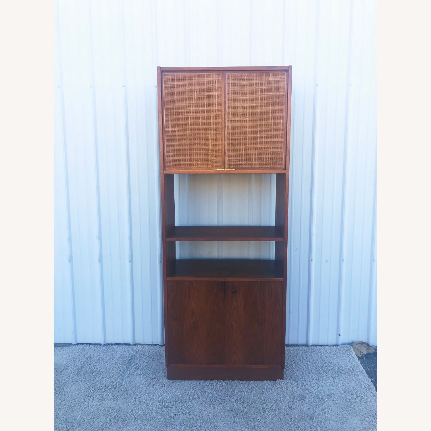 Mid Century Cabinet with Caned Doors & Shelves - image-8