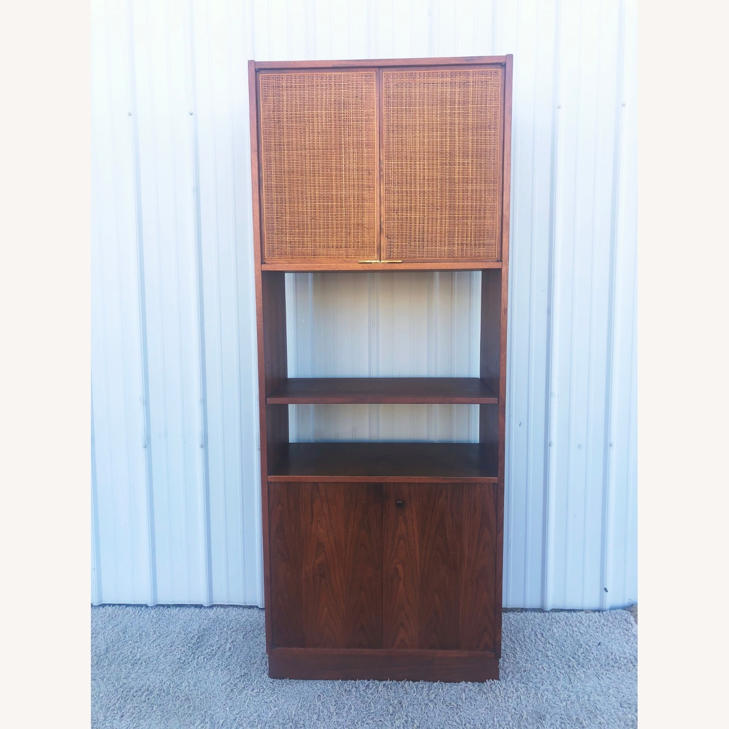 Mid Century Cabinet with Caned Doors & Shelves - image-11