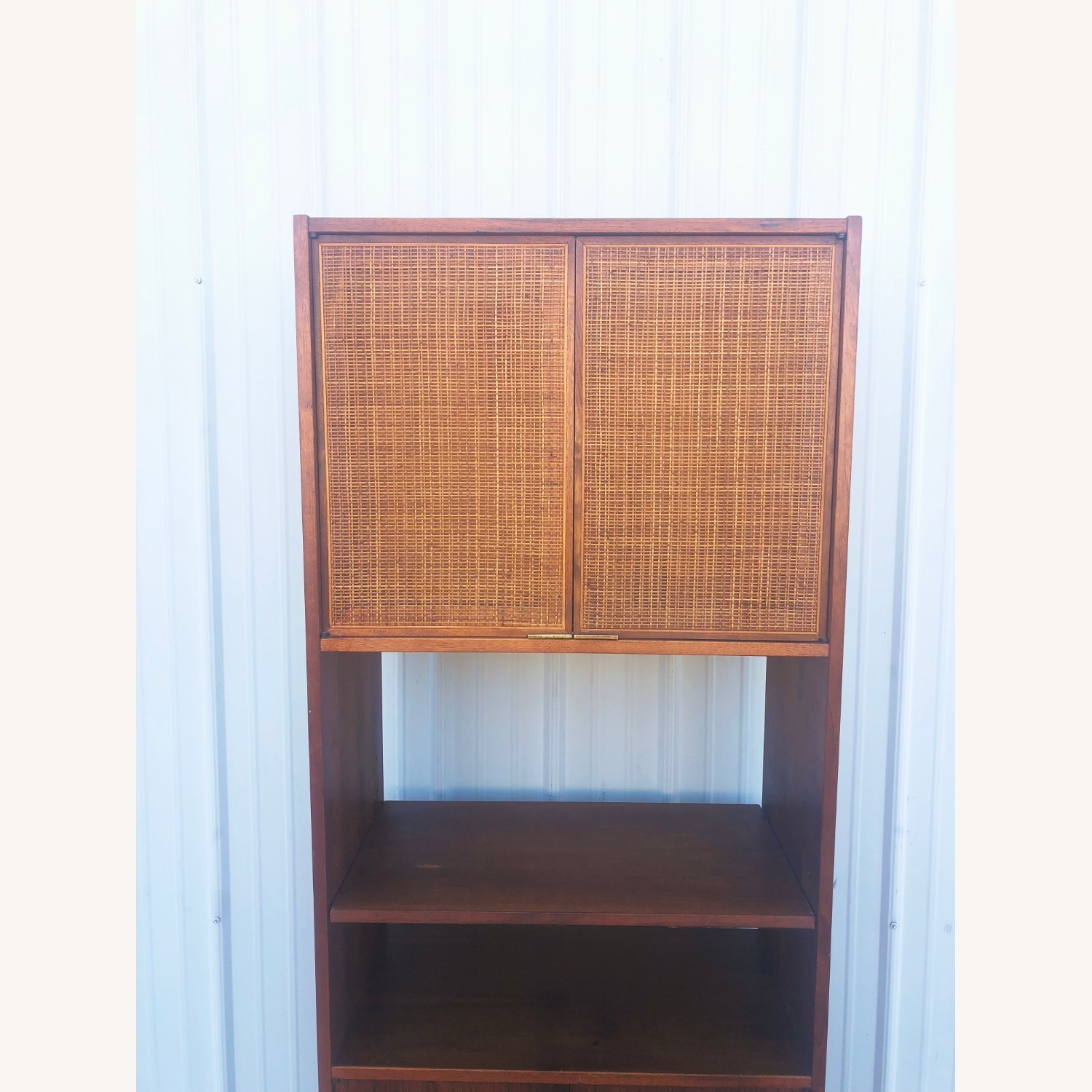 Mid Century Cabinet with Caned Doors & Shelves - image-10