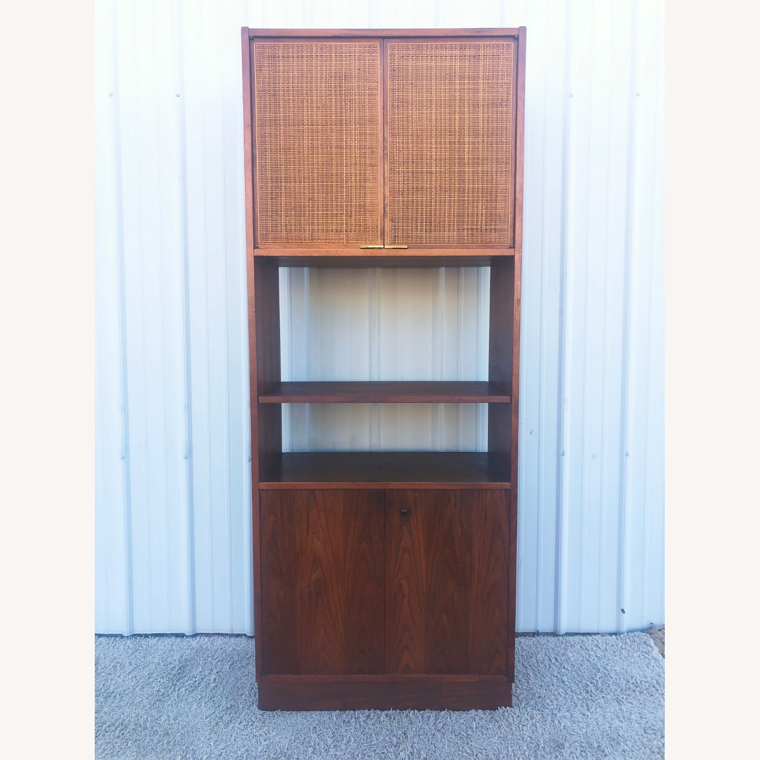 Mid Century Cabinet with Caned Doors & Shelves - image-12