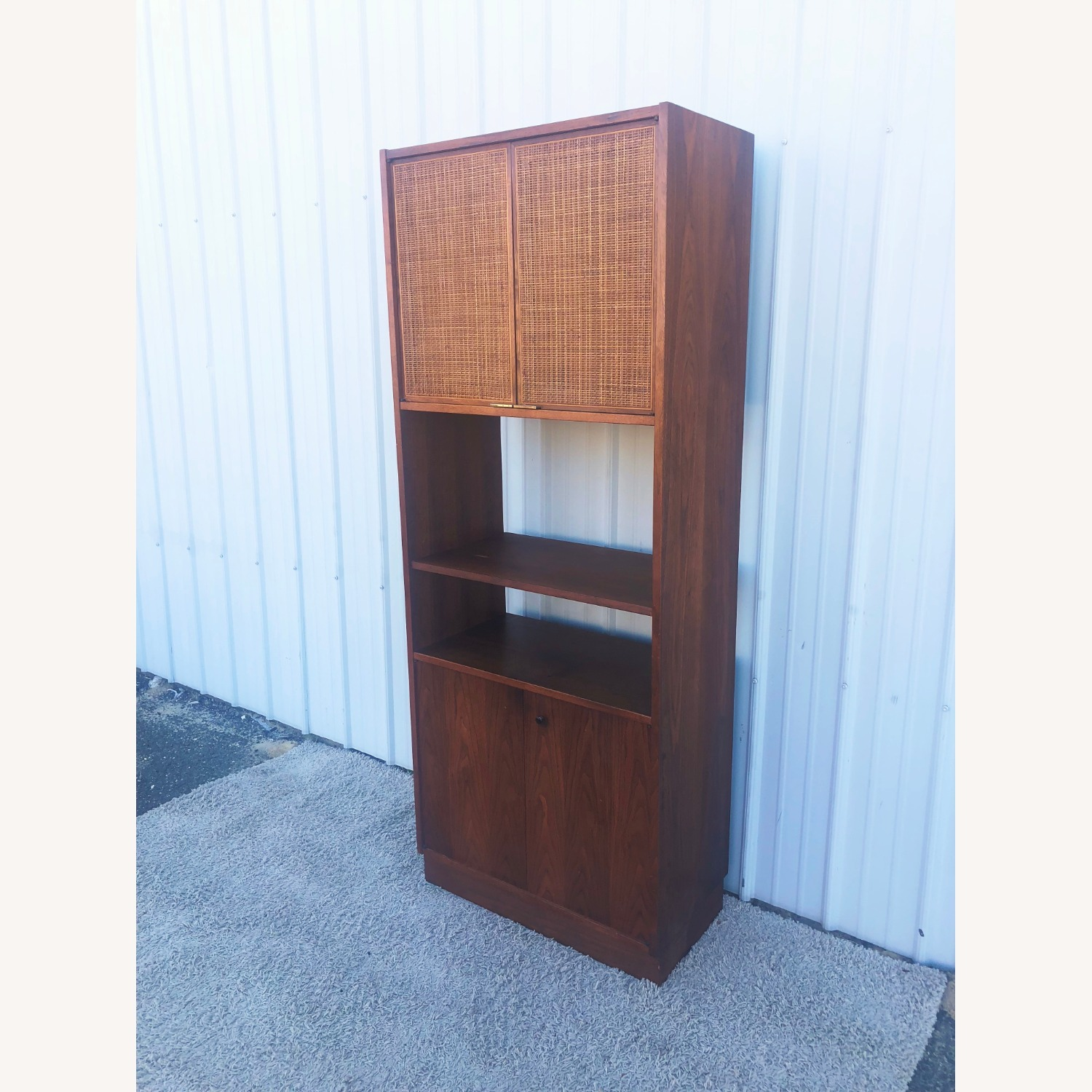 Mid Century Cabinet with Caned Doors & Shelves - image-4