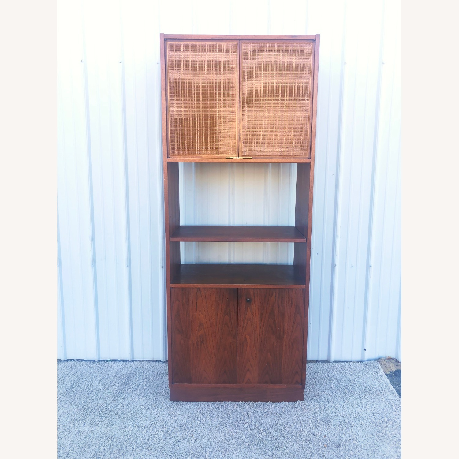 Mid Century Cabinet with Caned Doors & Shelves - image-5