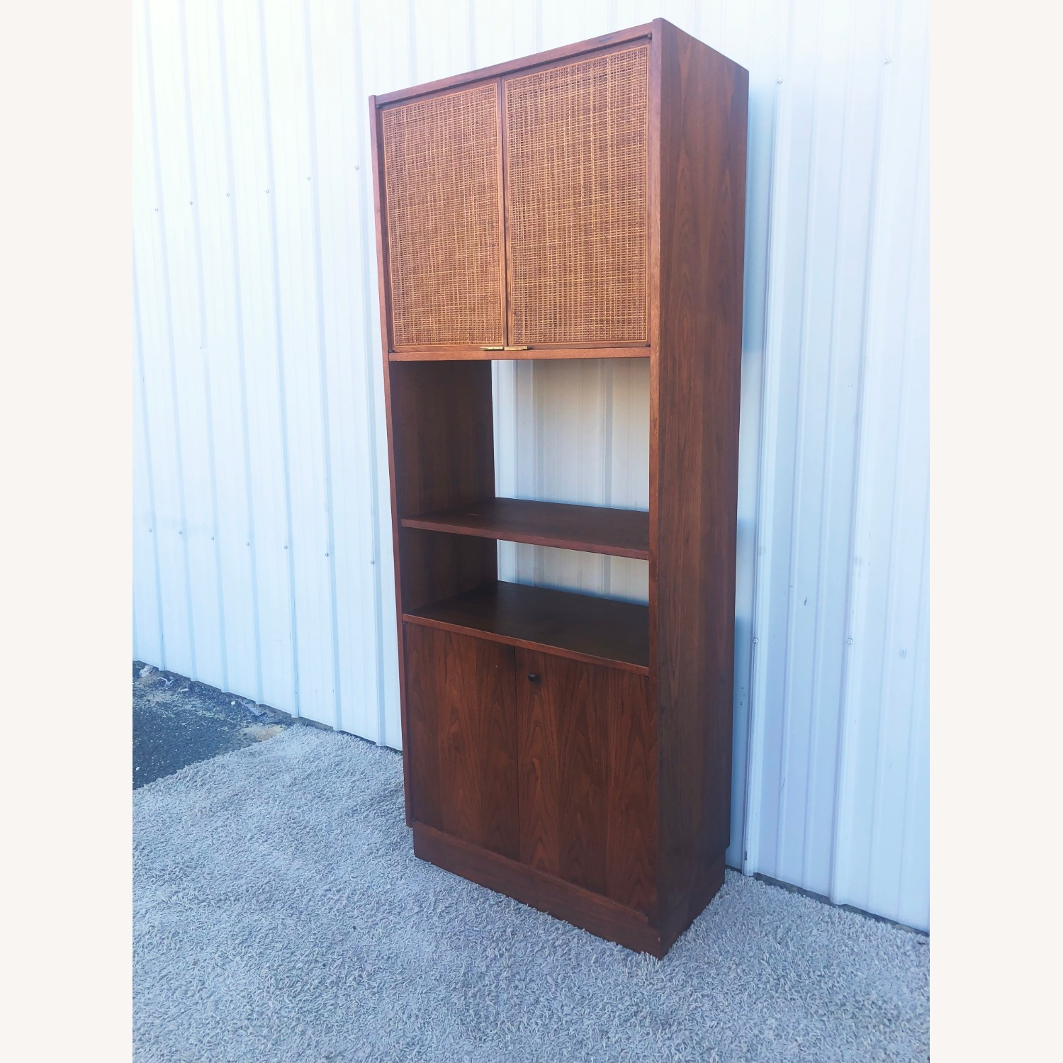 Mid Century Cabinet with Caned Doors & Shelves - image-3