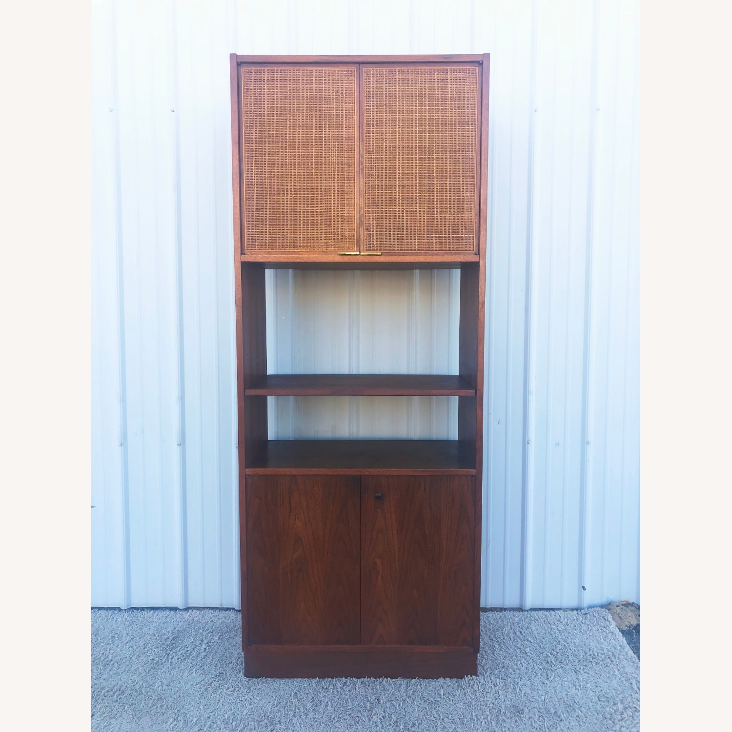 Mid Century Cabinet with Caned Doors & Shelves - image-1