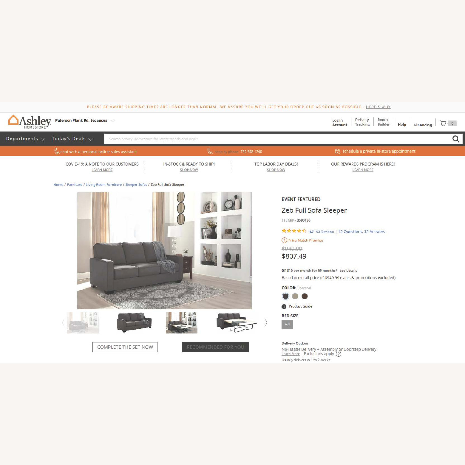 Ashley Furniture ZEB Sleeper Sofa - image-3