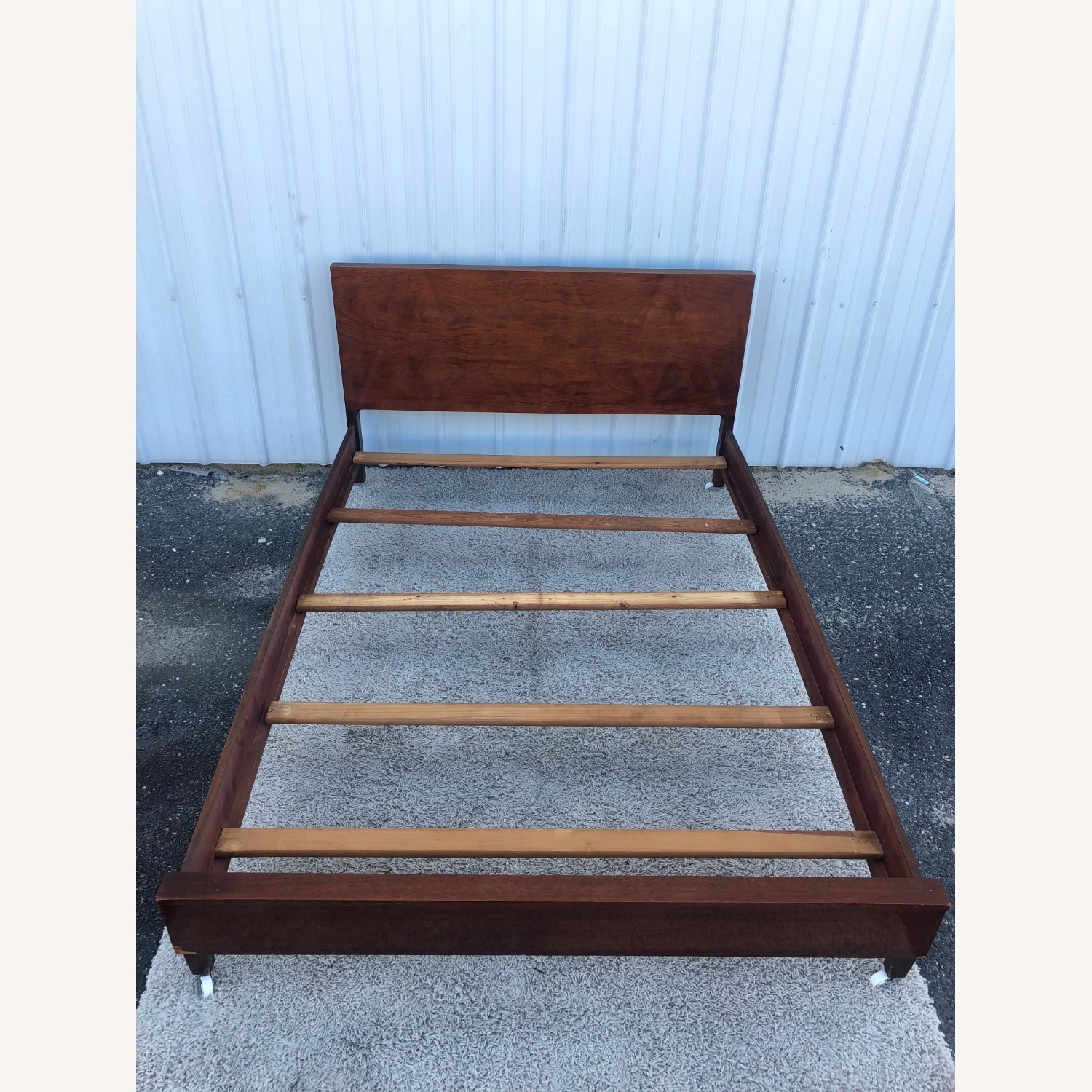 Mid Century Full Size Bed Frame in Mahogany - image-21