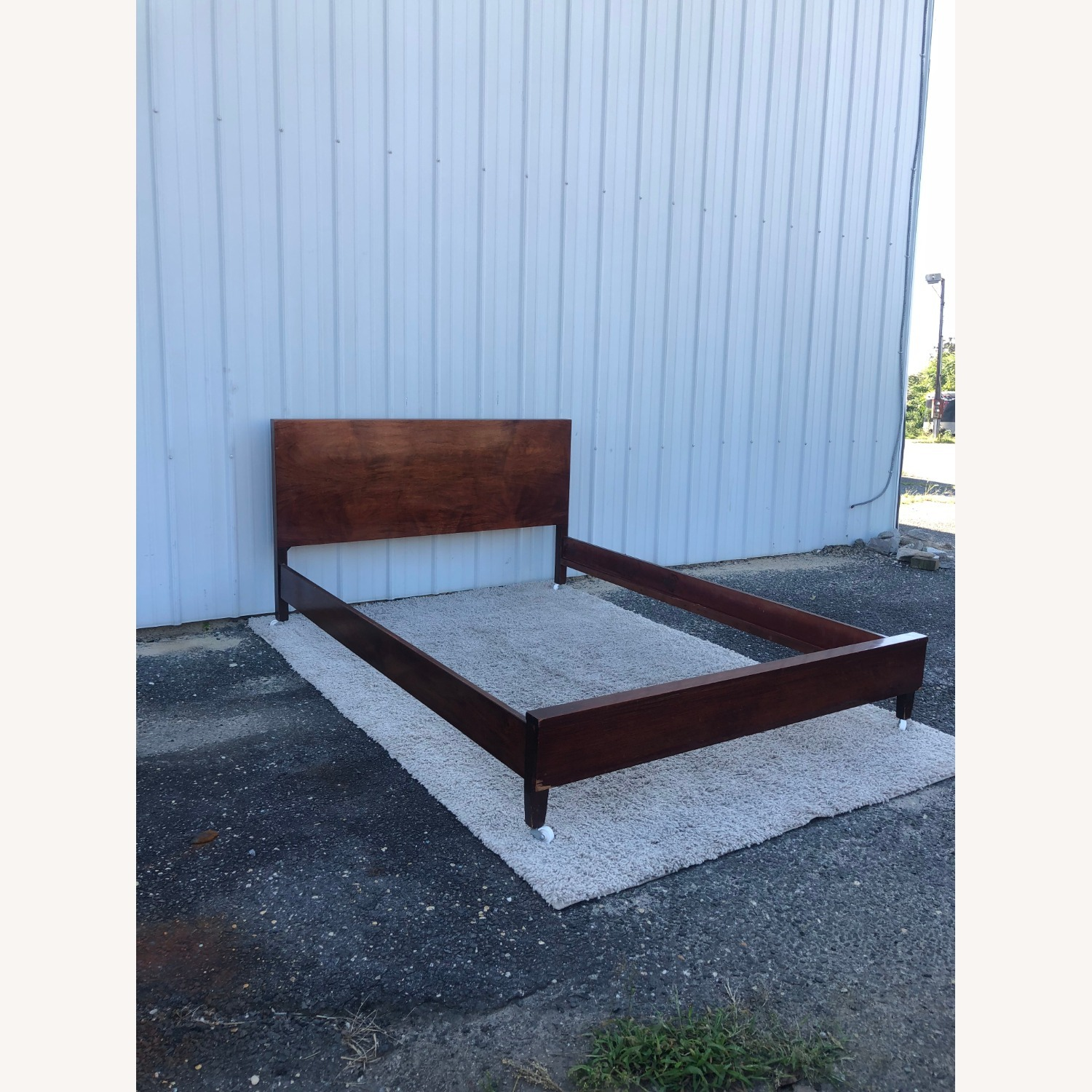 Mid Century Full Size Bed Frame in Mahogany - image-5