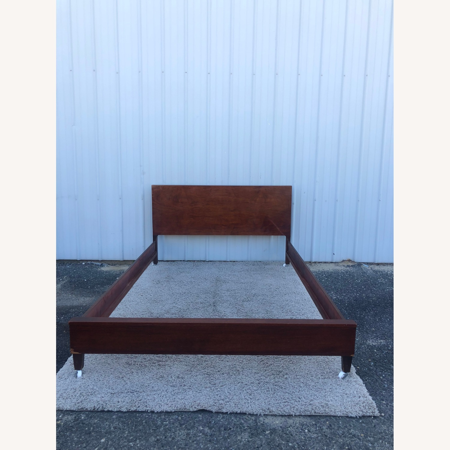 Mid Century Full Size Bed Frame in Mahogany - image-1