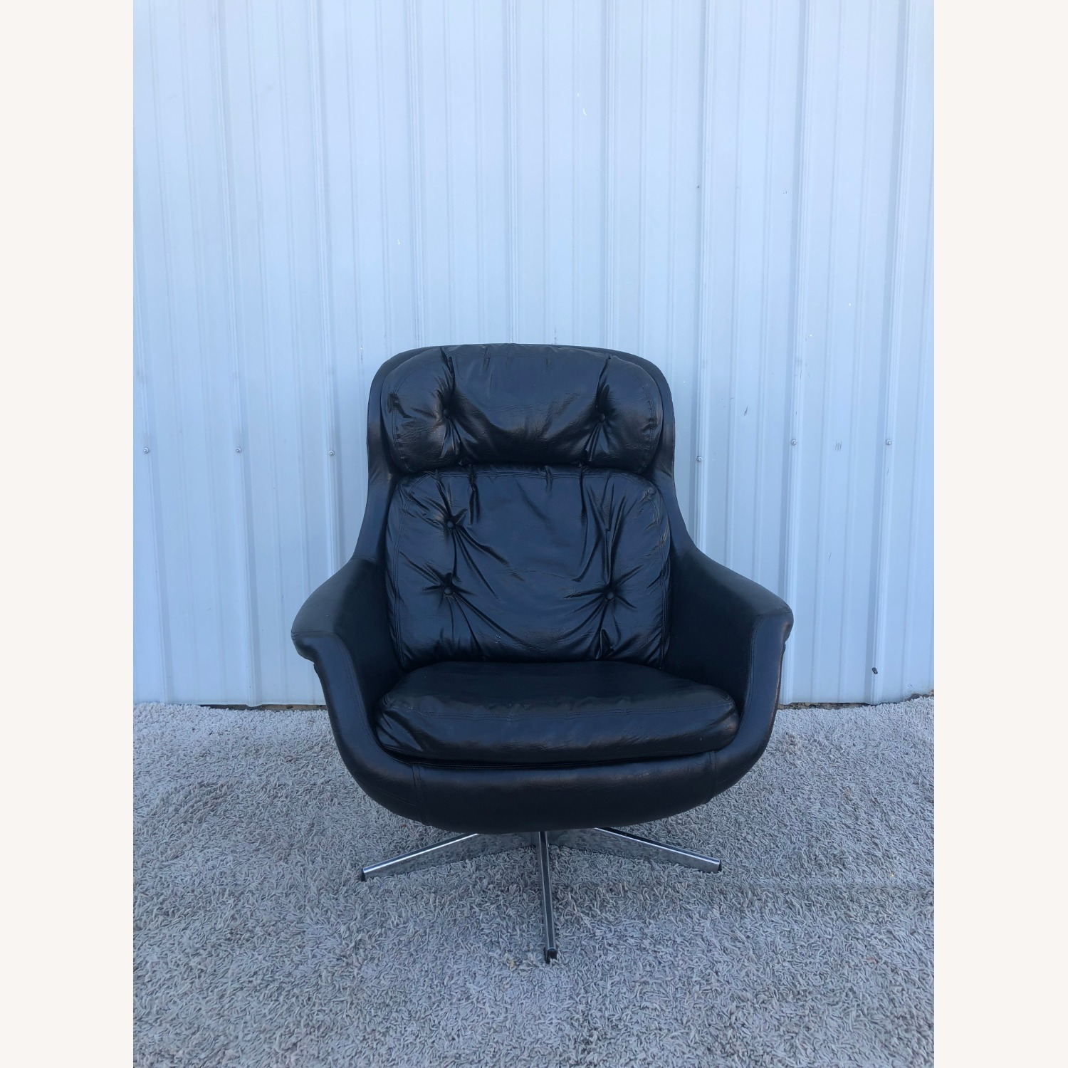 Mid Century Black Leather Lounge Chair by Selig - image-7
