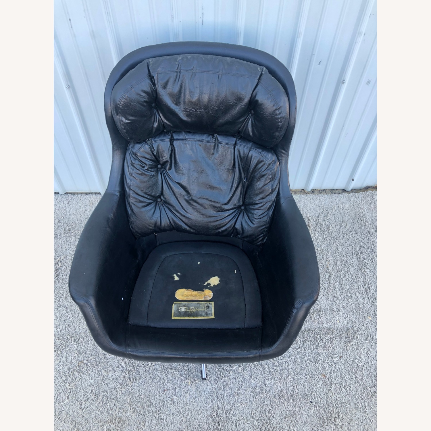 Mid Century Black Leather Lounge Chair by Selig - image-9