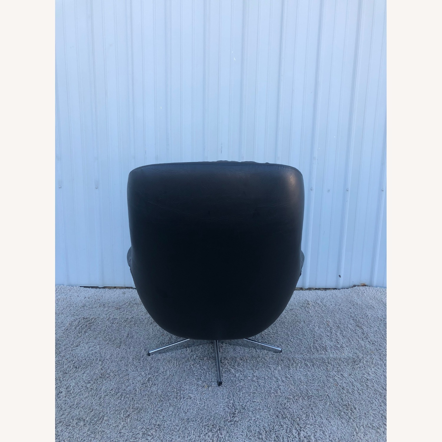 Mid Century Black Leather Lounge Chair by Selig - image-5
