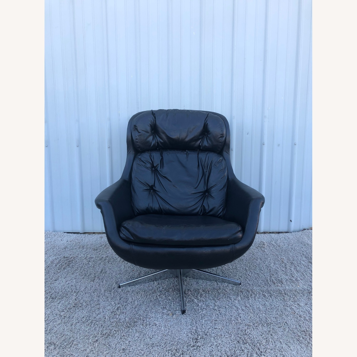 Mid Century Black Leather Lounge Chair by Selig - image-1
