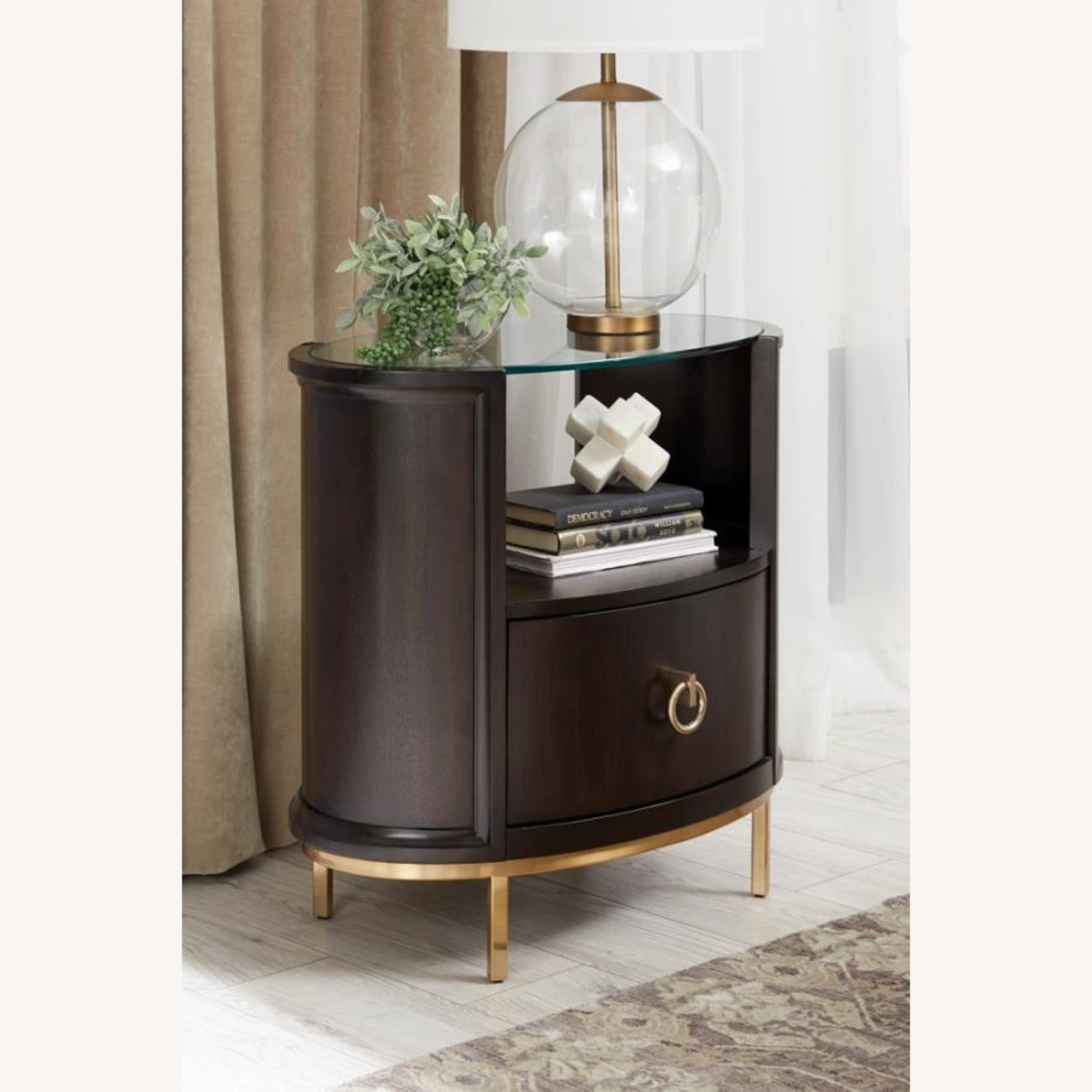 Modern Oval Nightstand In Americano Finish - image-4