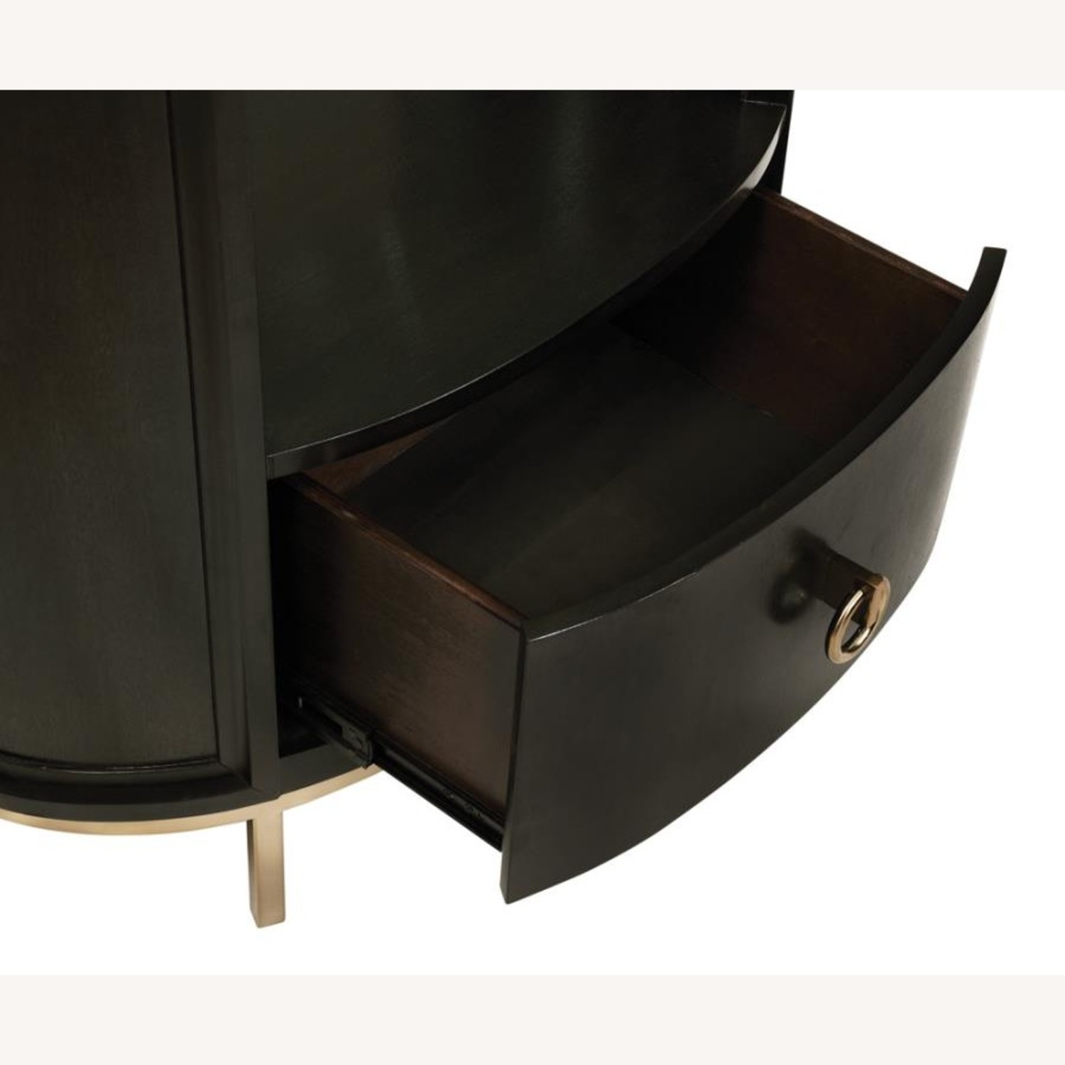 Modern Oval Nightstand In Americano Finish - image-2