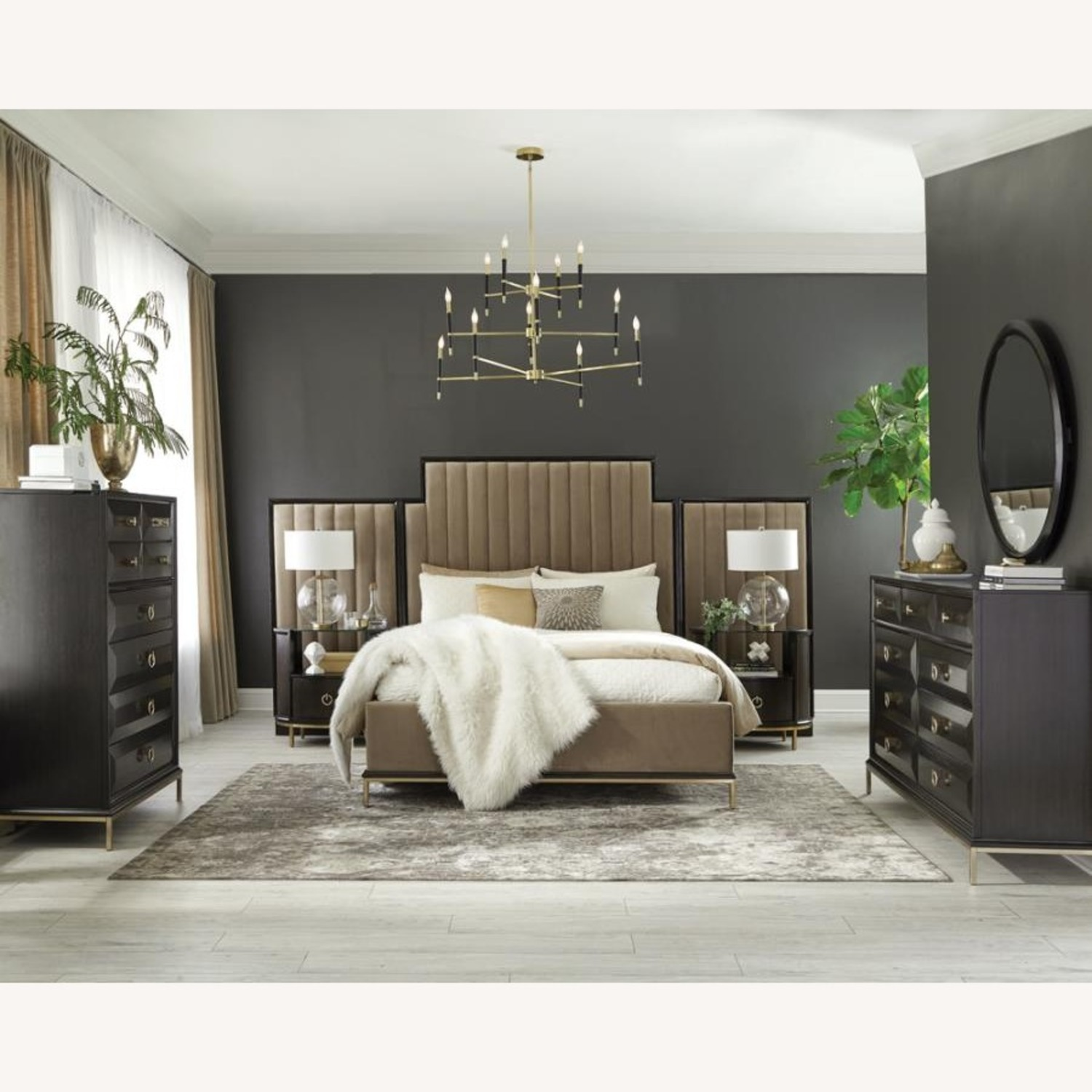 Modern Oval Nightstand In Americano Finish - image-5