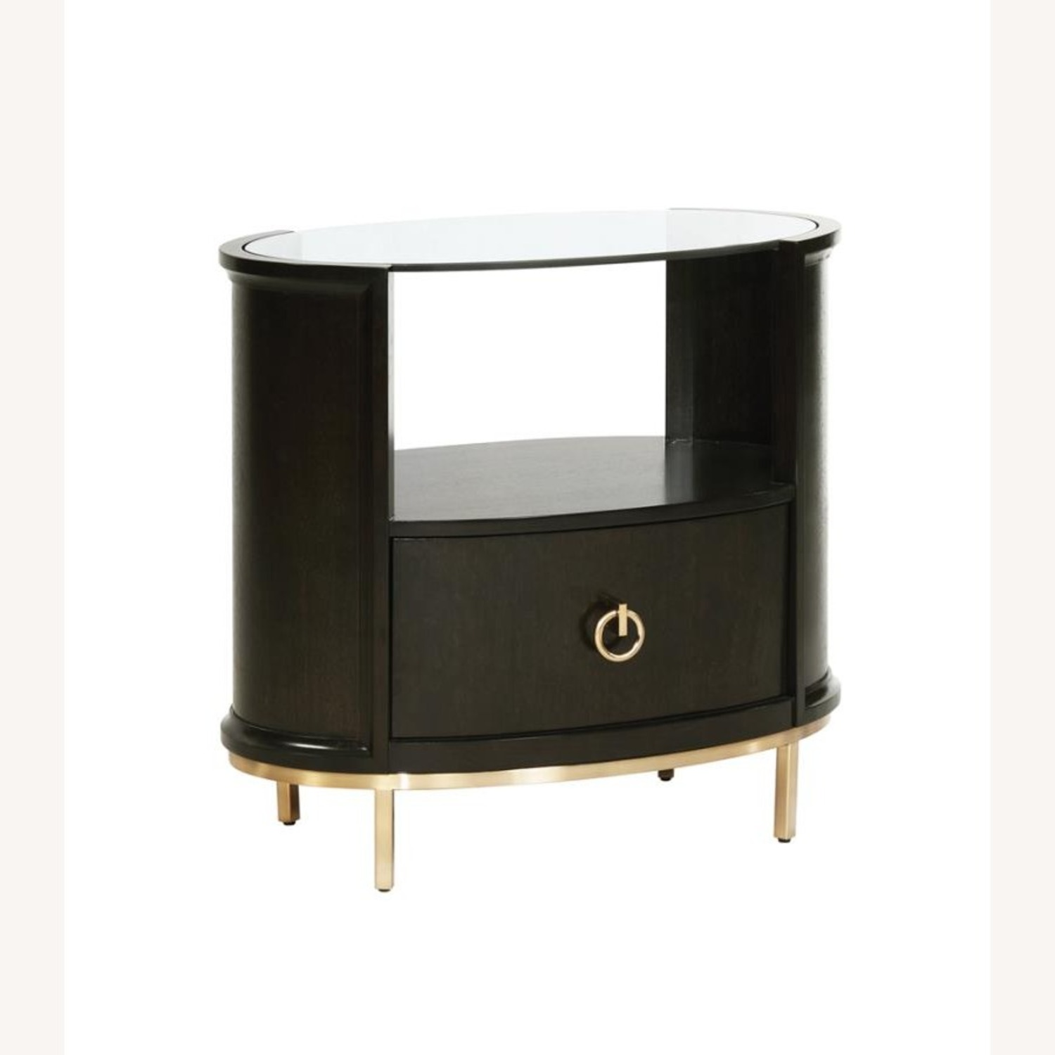 Modern Oval Nightstand In Americano Finish - image-0