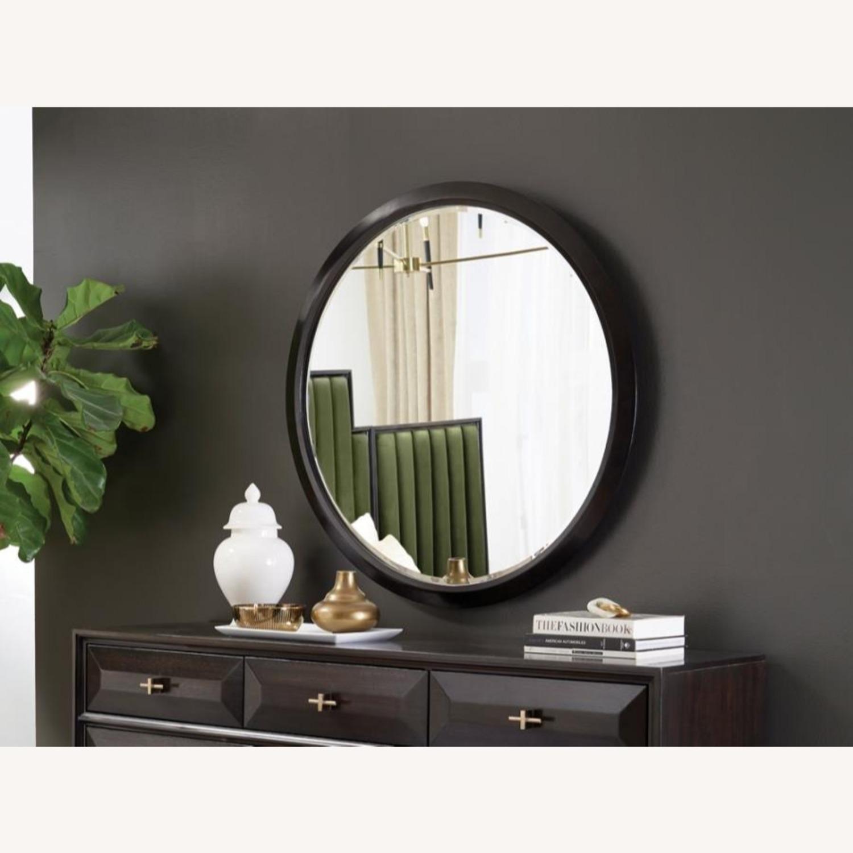 Round Mirror In Elegant Americano Wood Finish - image-2