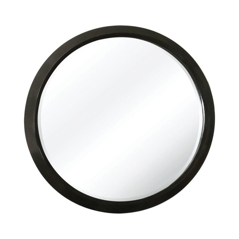 Round Mirror In Elegant Americano Wood Finish - image-0
