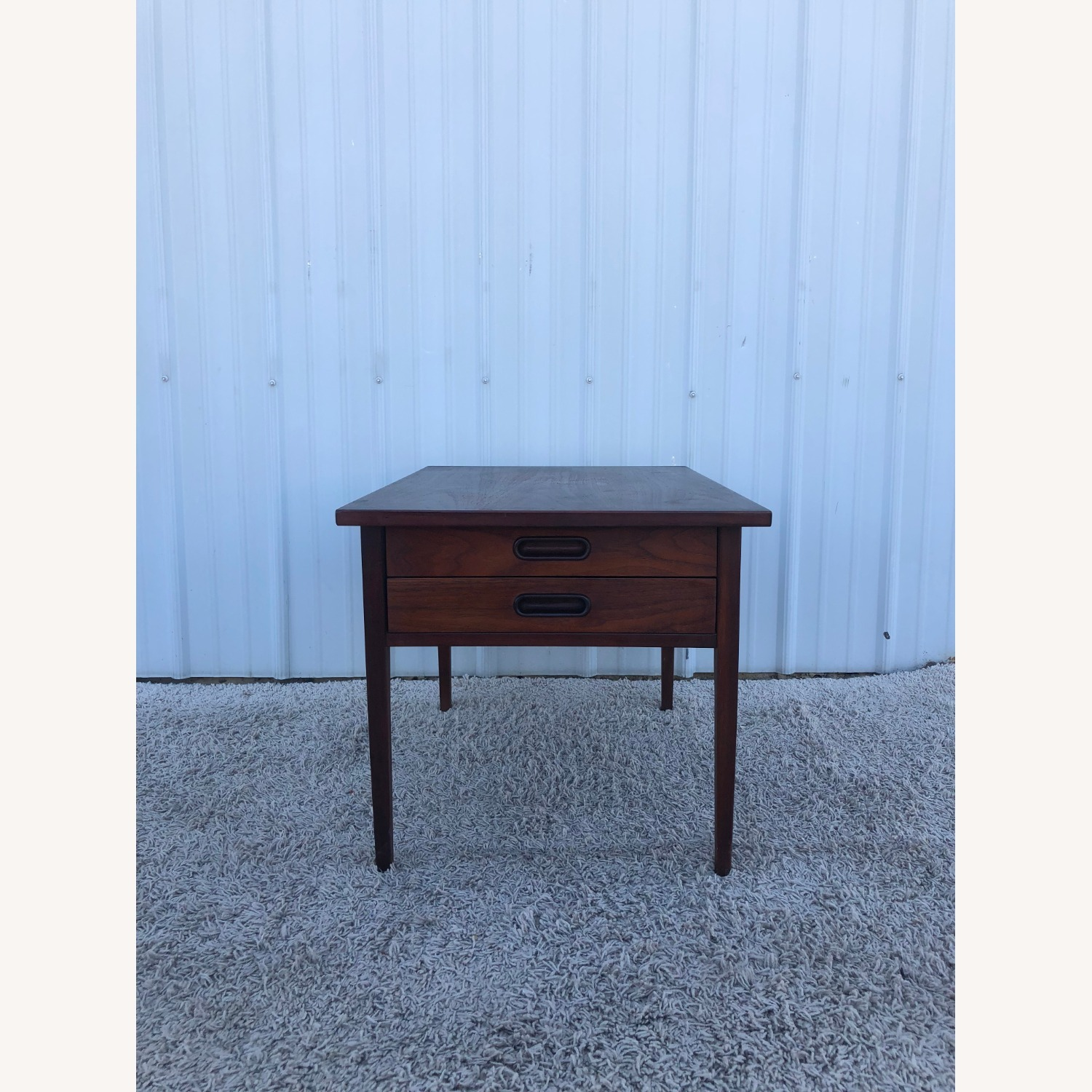 Mid Century Two Drawer End Table - image-1
