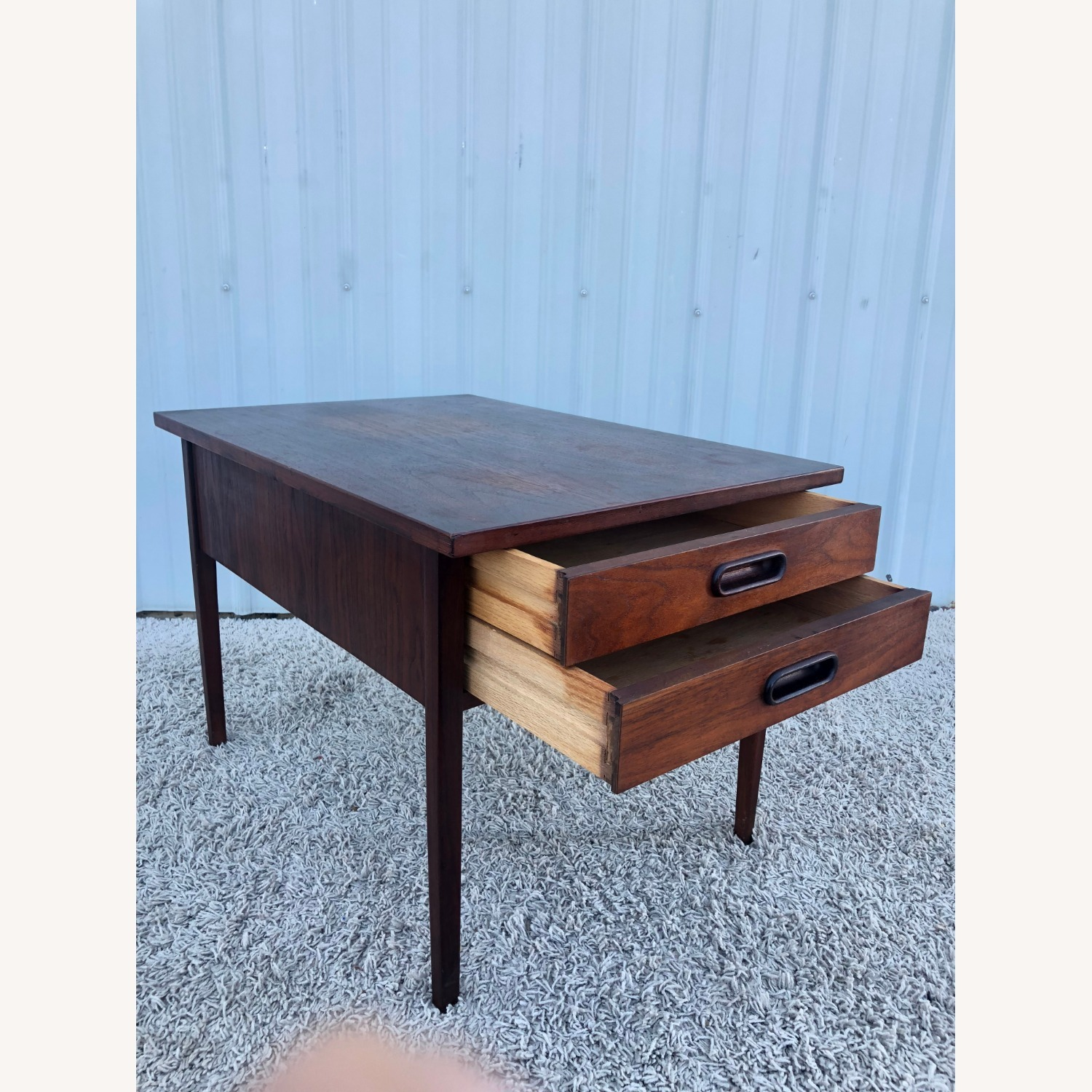 Mid Century Two Drawer End Table - image-7
