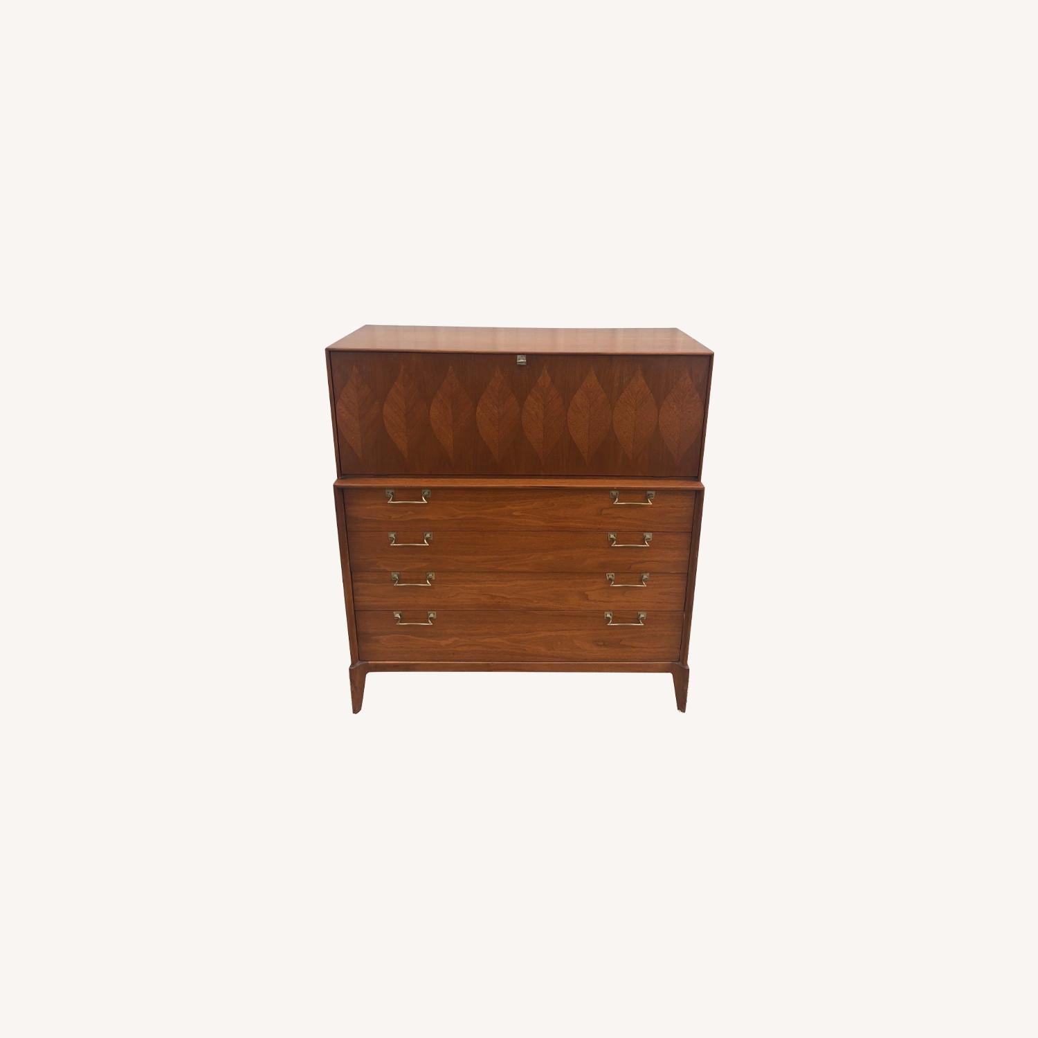 Mid Century Highboy with Inlay & Drop Front - image-0