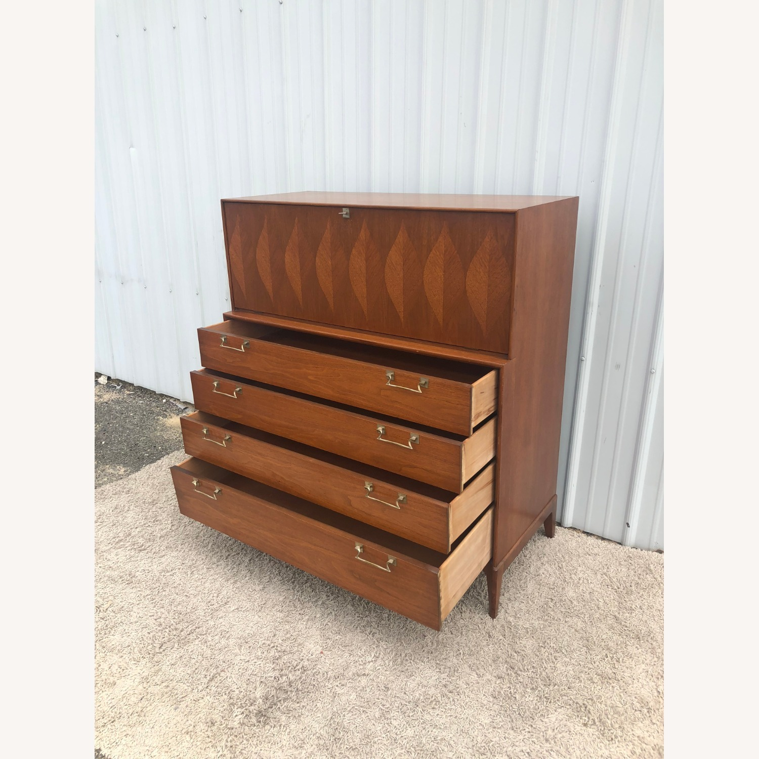 Mid Century Highboy with Inlay & Drop Front - image-16