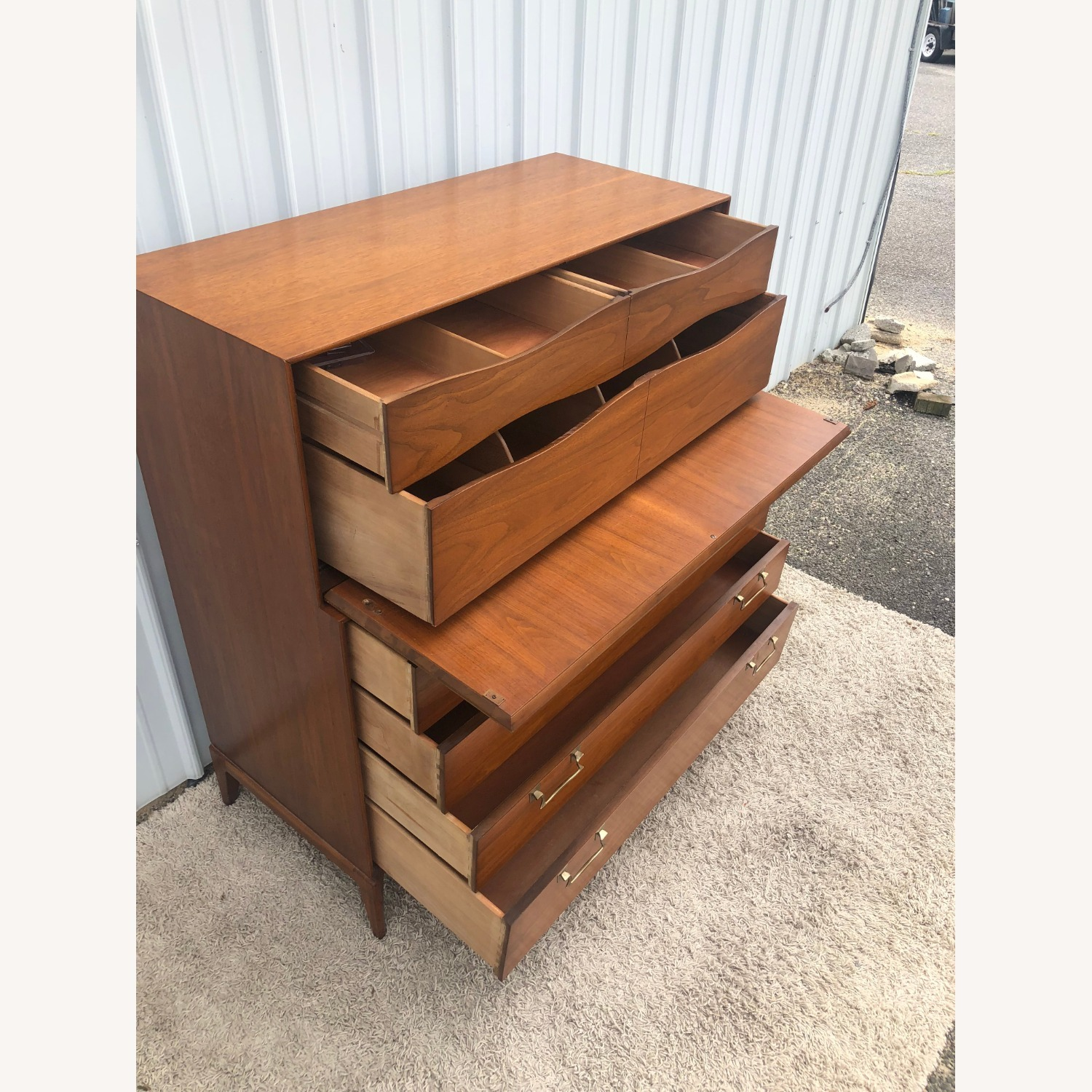 Mid Century Highboy with Inlay & Drop Front - image-14