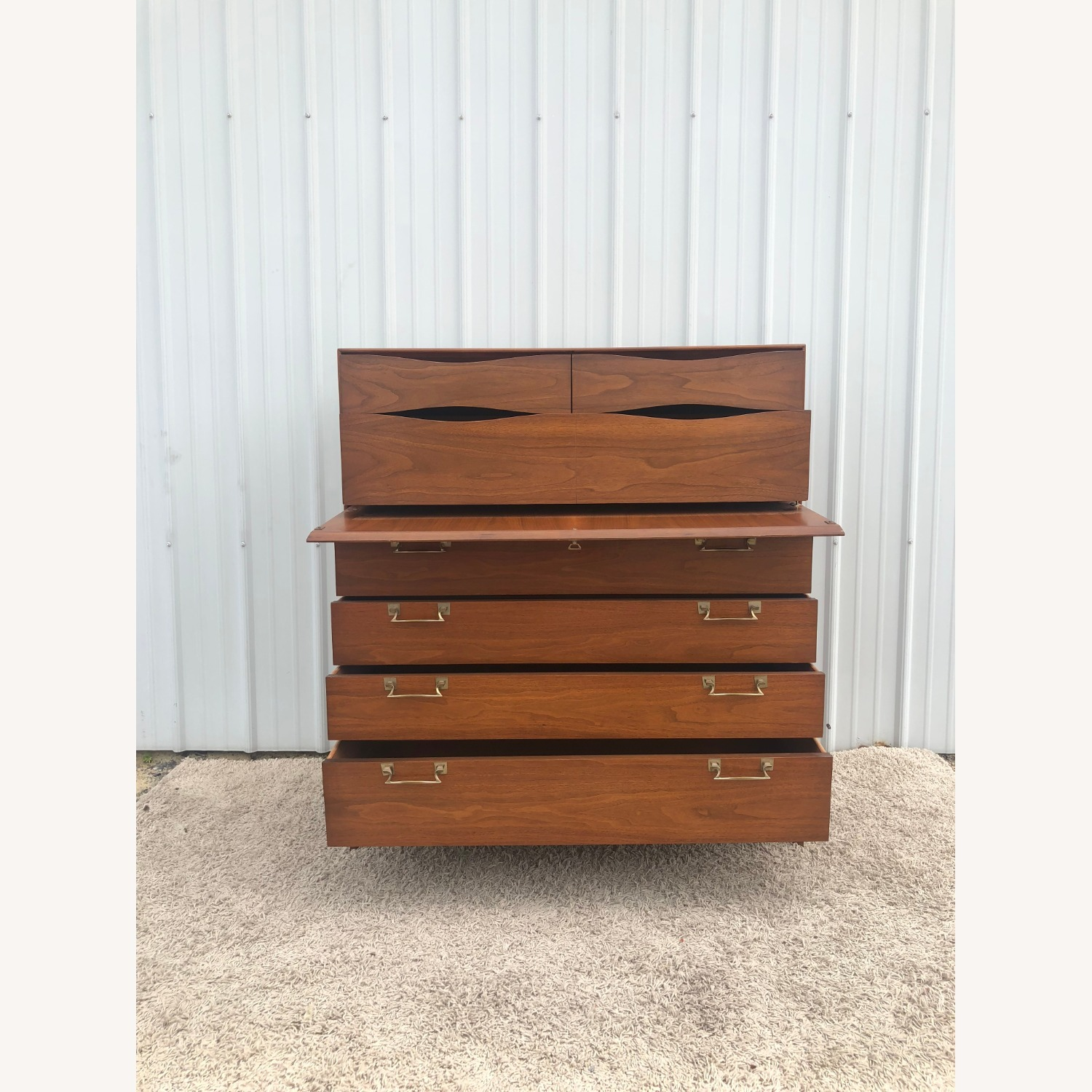 Mid Century Highboy with Inlay & Drop Front - image-11