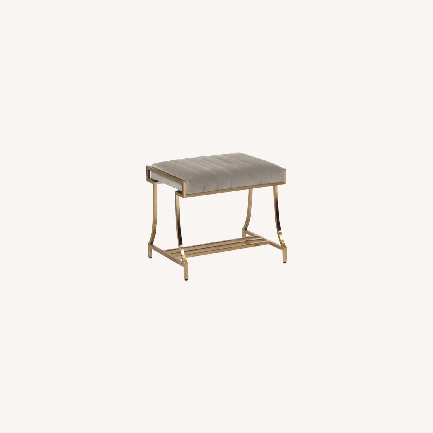 Elegant Vanity Stool In Taupe Color Fabric - image-3