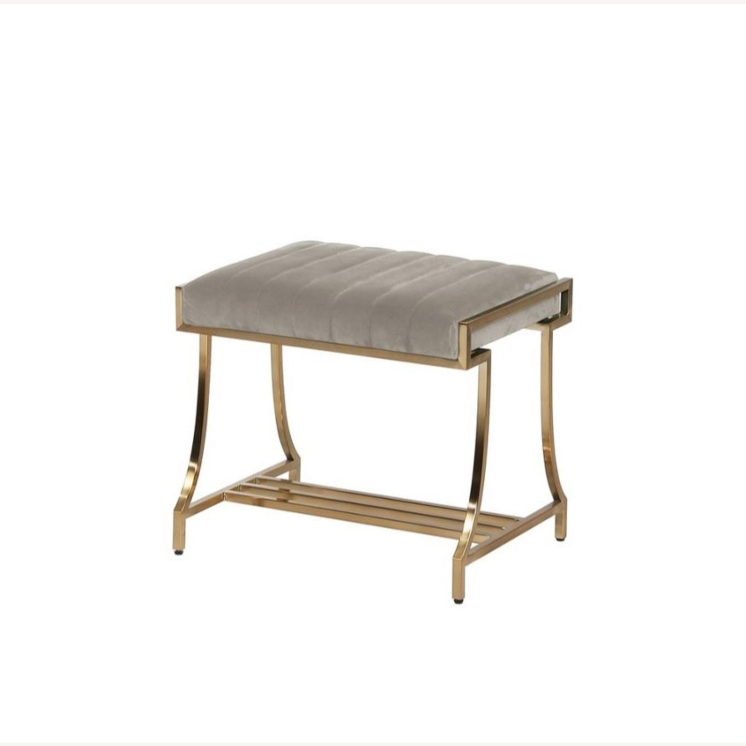 Elegant Vanity Stool In Taupe Color Fabric - image-1