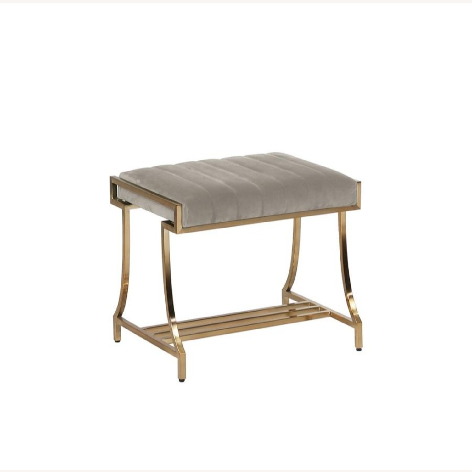 Elegant Vanity Stool In Taupe Color Fabric - image-0