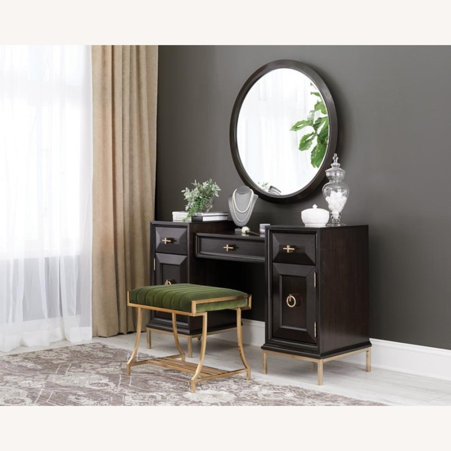Elegant Vanity Stool In Taupe Color Fabric - image-2