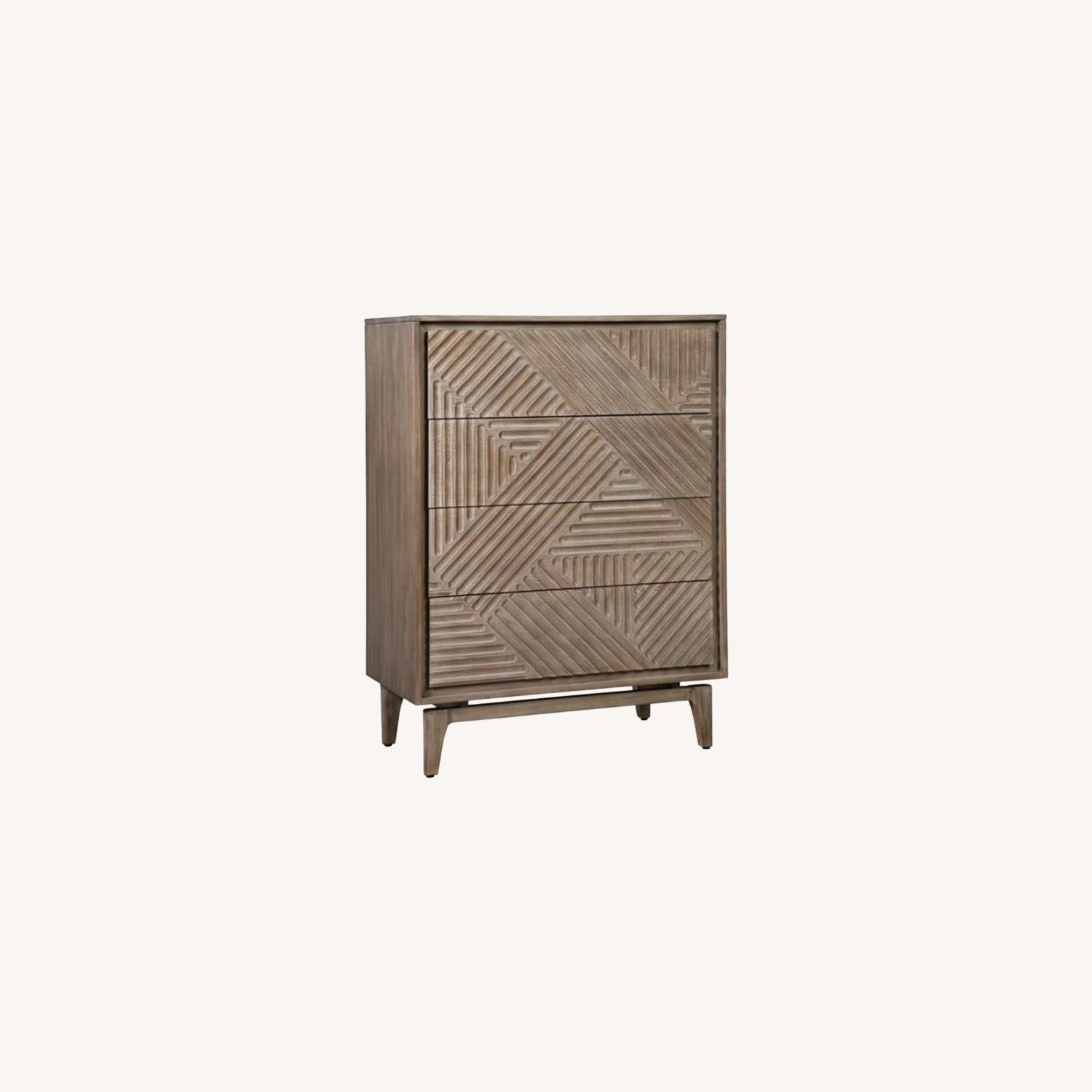 Modern Chest In Sandstone Finish W/ Unique Design - image-4