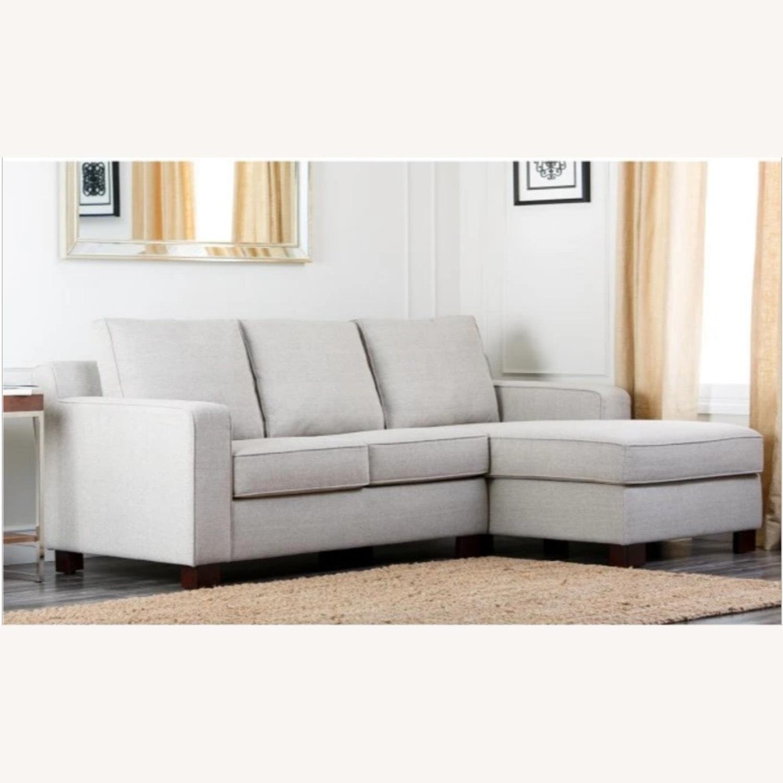 Abbyson Living Regina Grey Fabric Sectional Sofa - image-1