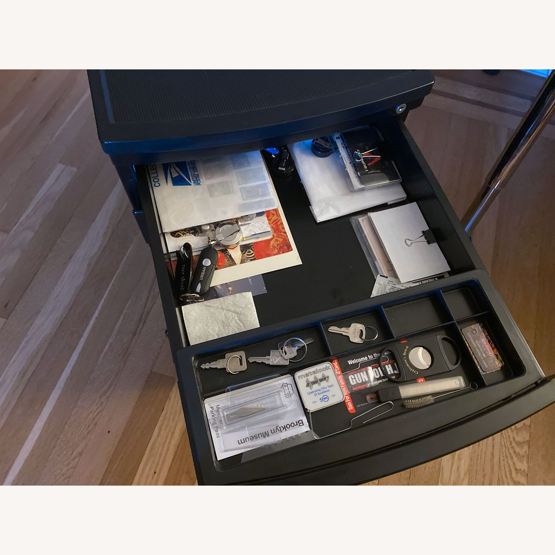 3 Drawer Black Metal Filing Cabinet on Casters - image-7