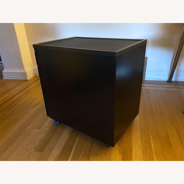 3 Drawer Black Metal Filing Cabinet on Casters - image-10