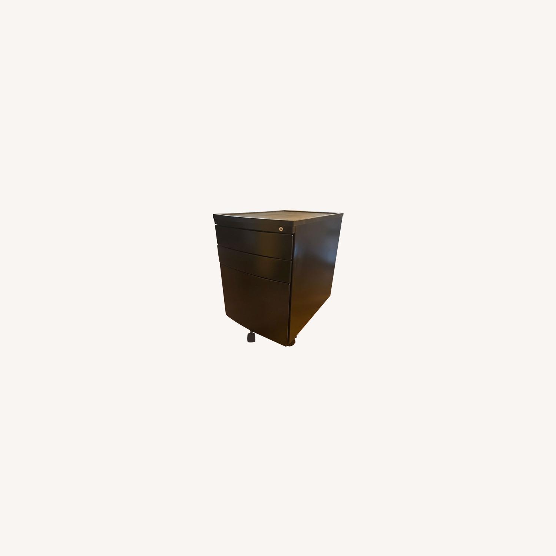 3 Drawer Black Metal Filing Cabinet on Casters - image-0