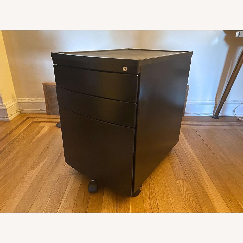 3 Drawer Black Metal Filing Cabinet on Casters - image-12