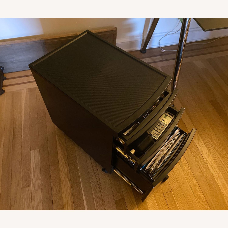 3 Drawer Black Metal Filing Cabinet on Casters - image-11