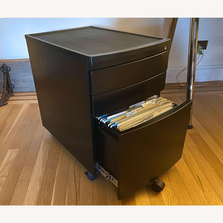 3 Drawer Black Metal Filing Cabinet on Casters - image-9
