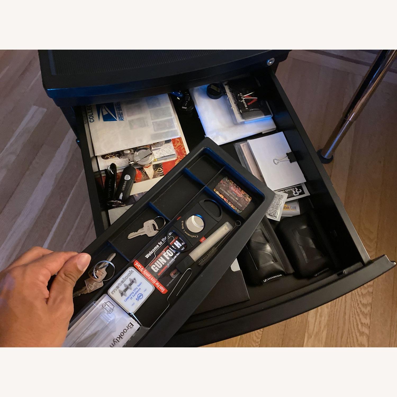 3 Drawer Black Metal Filing Cabinet on Casters - image-8