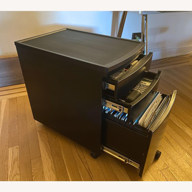 3 Drawer Black Metal Filing Cabinet on Casters - image-3