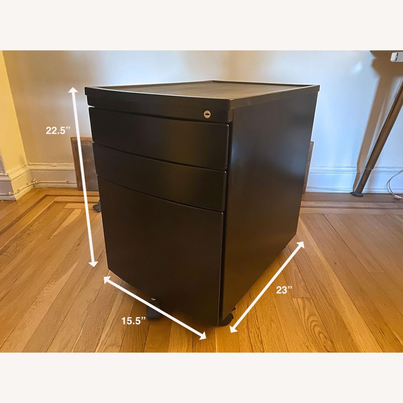3 Drawer Black Metal Filing Cabinet on Casters - image-2