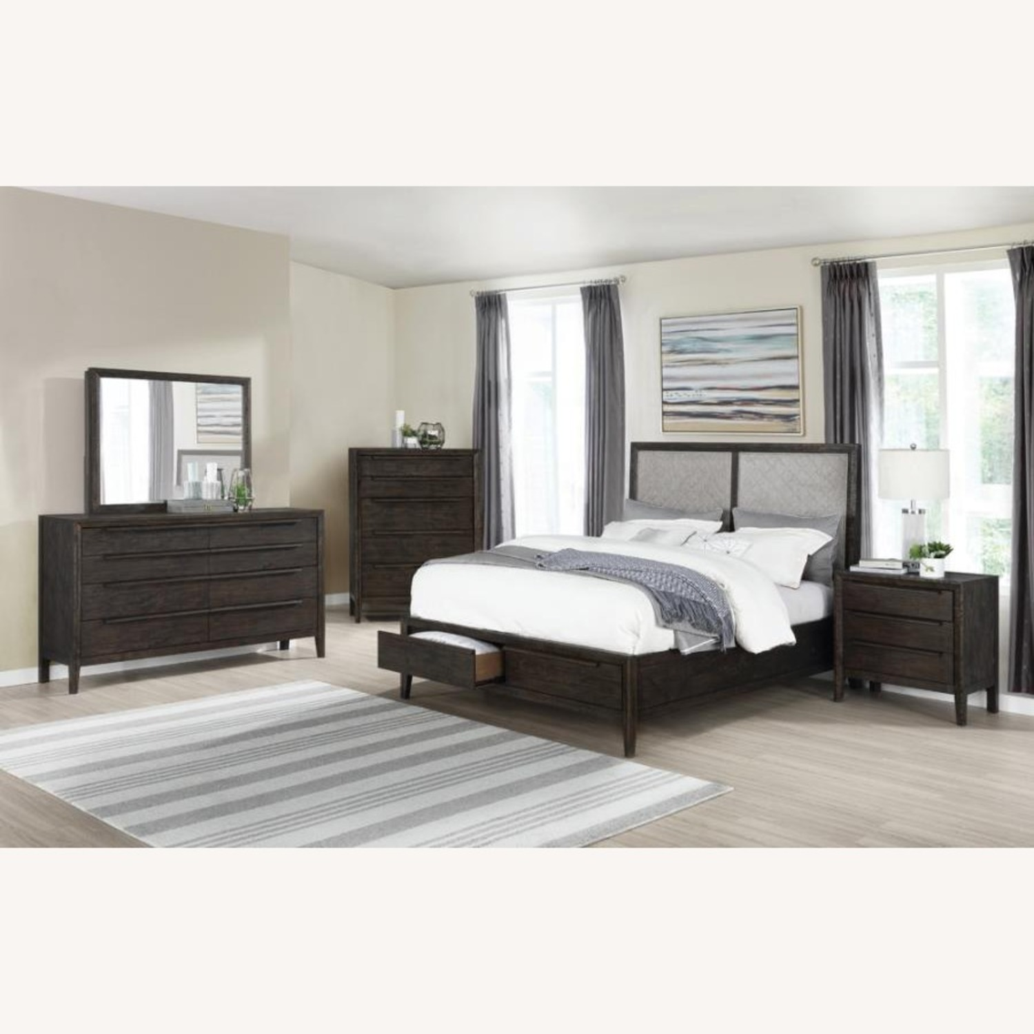 Modern Classic Style Queen Bed In Oatmeal Fabric - image-2