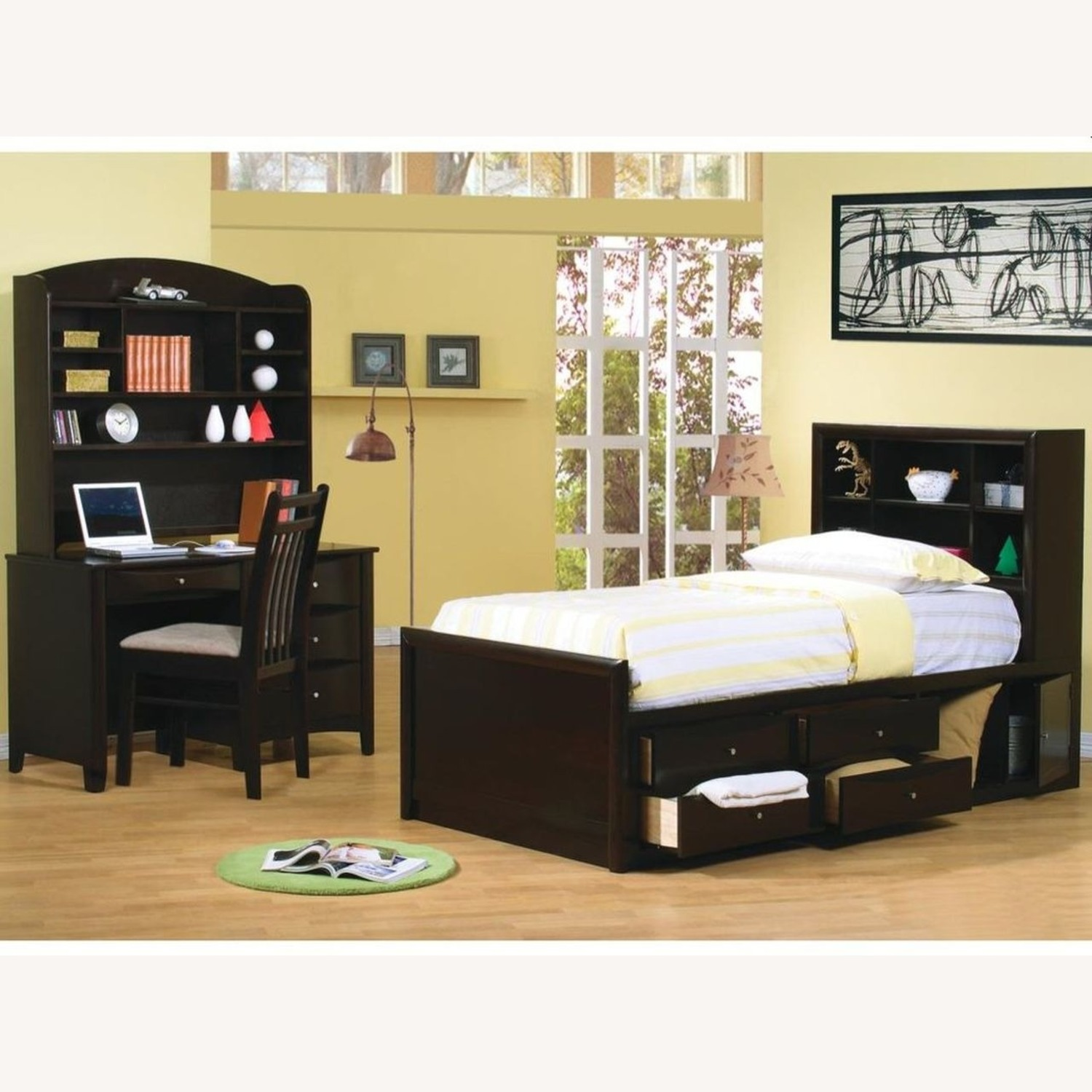 Transitional Nightstand In Deep Cappuccino Finish - image-3