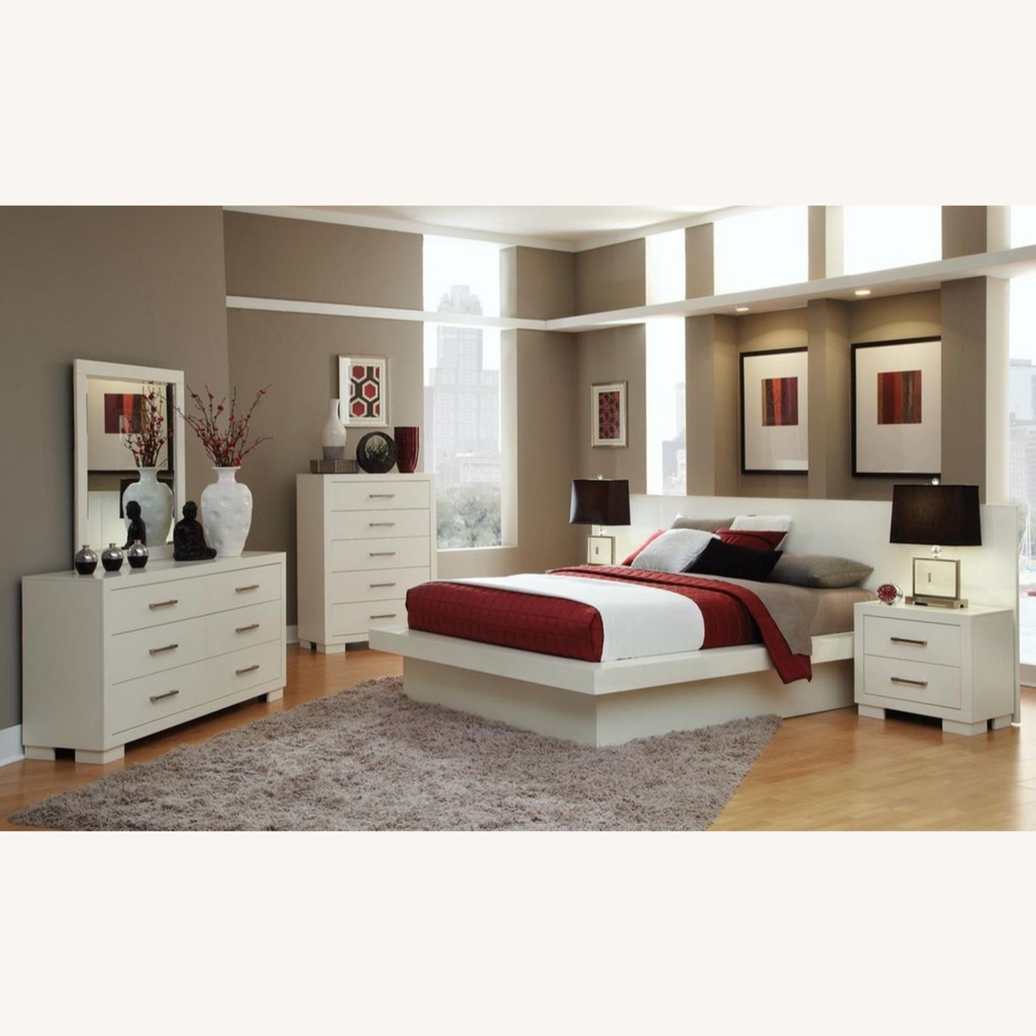 Minimalist Nightstand In White Finish - image-3