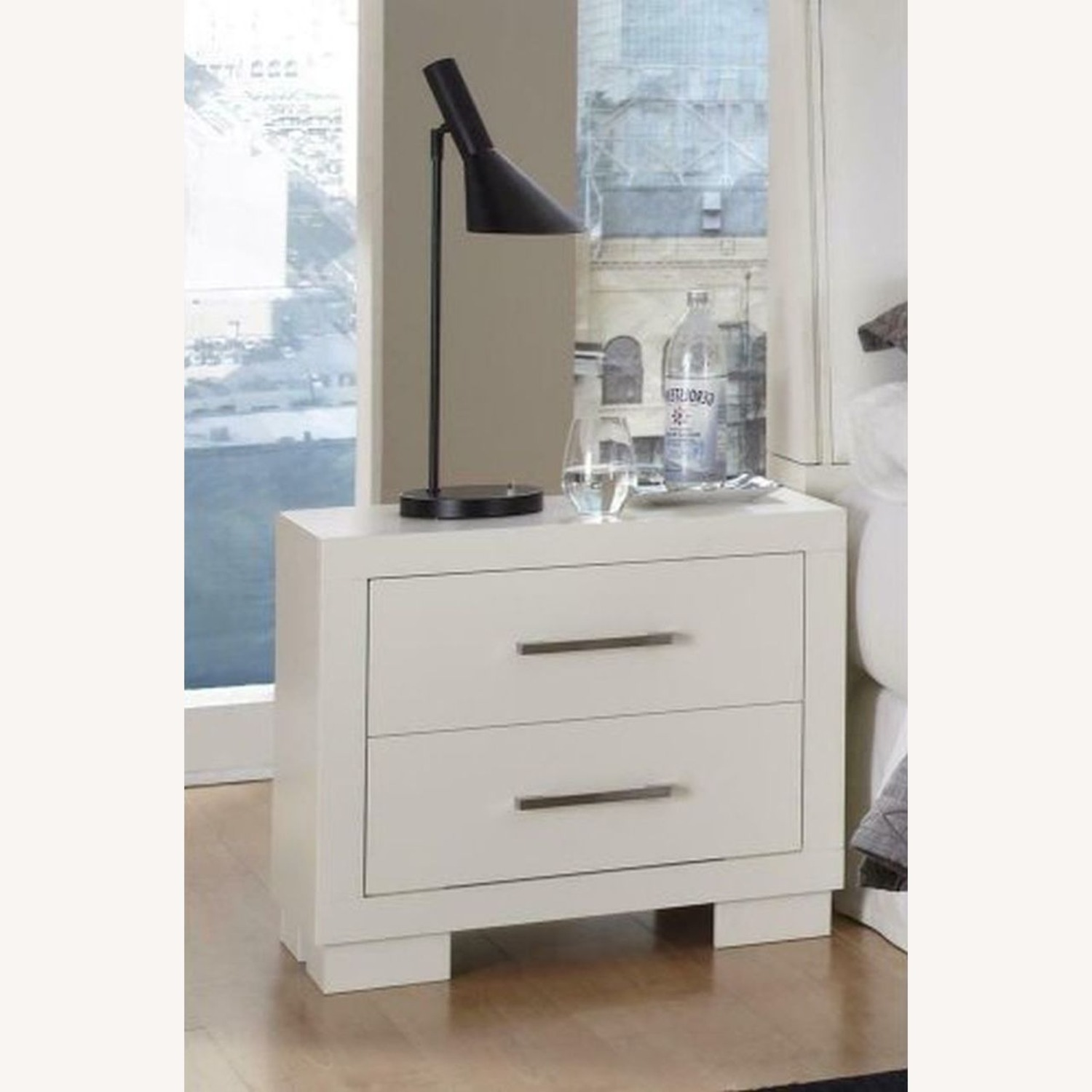 Minimalist Nightstand In White Finish - image-2