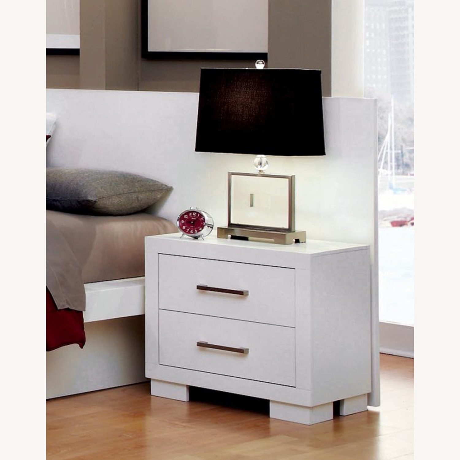 Minimalist Nightstand In White Finish - image-1