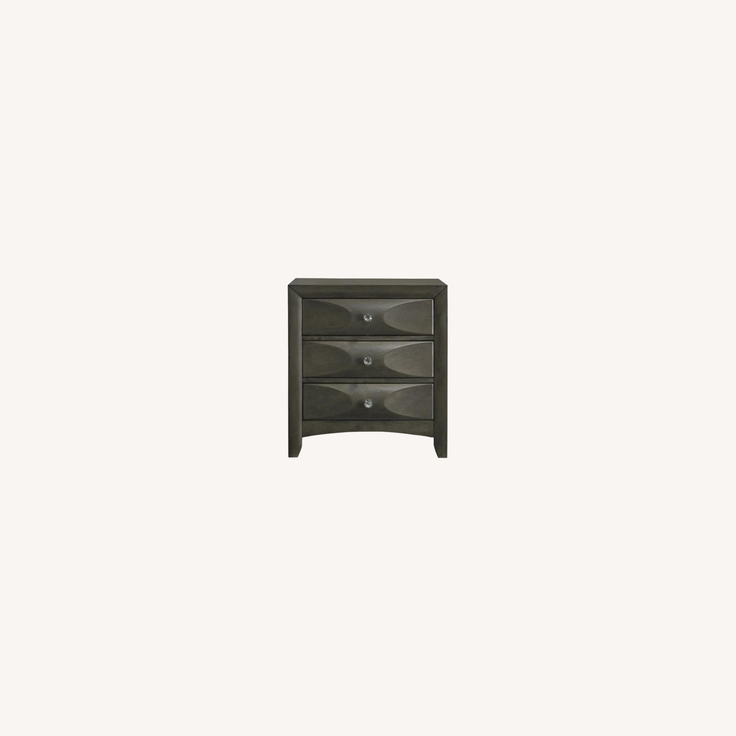 Nightstand In Mod Grey Finish W/ 3D Bow Tie Fronts - image-6
