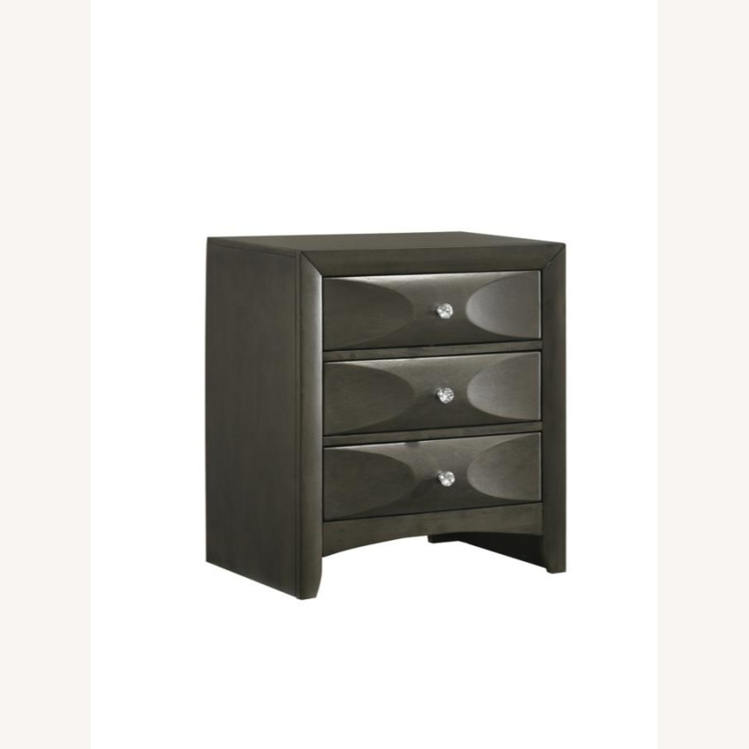 Nightstand In Mod Grey Finish W/ 3D Bow Tie Fronts - image-0